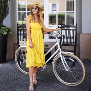 New yellow midi tie back dress
